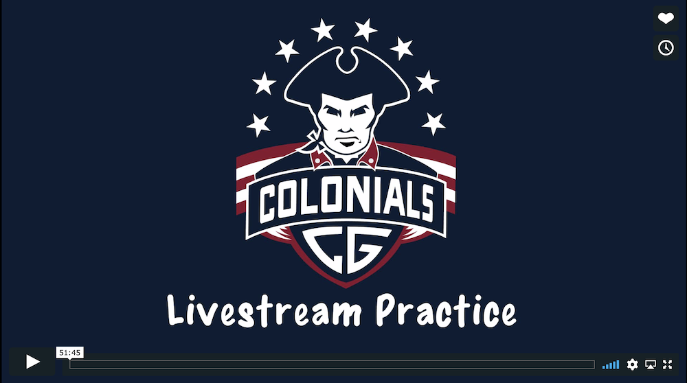Colonials Livestream Practice March 22, 2020